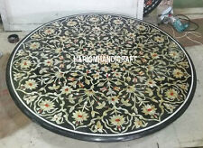 "36"" Black Marble Dining Table Top Fine Stone Marquetry Inlaid Patio Decor H3130"