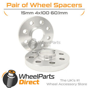 Wheel Spacers (2) 4x100 60.1 15mm for Renault Clio [Mk2] 98-12