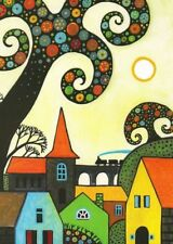 ACEO print of painting ABSTRACT FOLK ART TREES HOUSES WHIMSICAL RYTA FLOWERS