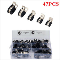 47Pcs Car Rubber Lined P Clips Cable Mounting Hose Pipe Clamp Stainless Steel