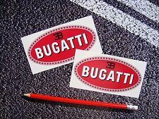 2 X OVAL BUGATTI STICKERS CLASSIC F1 SUPERCAR LE MANS TOP QUALITY