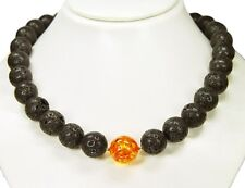Elegant Necklace Consists of lava-stones and One Synthetic Amber