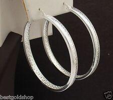 Inside Out Large Greek Key Hoop Earrings Real 925 Sterling Silver 9.2gr 45mm