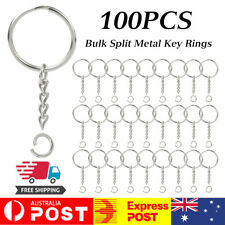 100x Bulk Split Metal Key Rings Keyring Blanks With Link Chains For DIY Craft AU