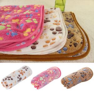 Three models Pet Dog Puppy Cat Paw Print Fleece Warm Soft Blanket Beds Mat