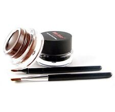 Eyeliner GEL Liquid Liner Cream Twin Pack Brown & Black With 2 Brushes Set
