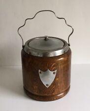 Old Vintage Biscuit Barrel - Wood and Chrome Ceramic Liner