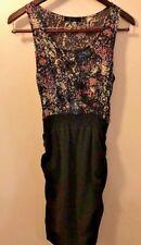 XAI XAI2 Floral Top Black Mini Dress Fun Sleeveless w/ Bubble Bottom Midi Dress