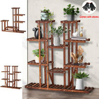 Garden Multi Tier Wood Plant Stand Outdoor Indoor Flower Pot Rack Display Shelf
