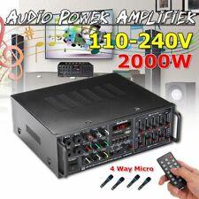 2000W bluetooth Stereo Amplifier 2CH Tuner HIFI Remote SD Mic Karaoke Speaker