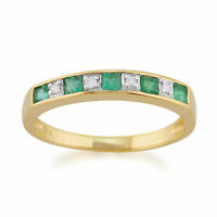9ct Yellow Gold 0.29ct Natural Emerald & Diamond Half Eternity Ring Size