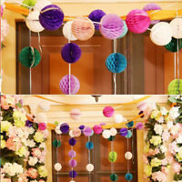 10pcs Honeycomb Paper Tissue Balls Vintage Wedding Party Hanging Decor Pom Poms