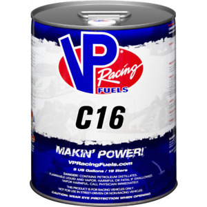 VP RACING FUELS LEADED C16 , 120 OCTANE , NO ETHANOL 18.3 LITRES containers