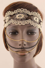 New Women Lace Elastic Head Band Fashion Mask Gold Black Multi Chains Jewelry