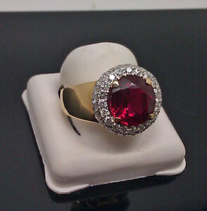 Yellow Plated Men's Ruby Round Stone Wedding Engagement Ring In 925 Silver