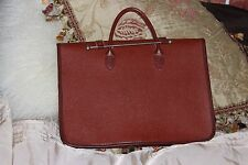 Vintage brown  genuine leather large flat document case  Handbag