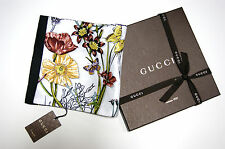 New Authentic GUCCI Iconic Floral Infinity White Black Silk Twill Scarf