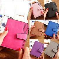 Women Vintage Solid Short Wallet Leather Card Holder Purse Messenger Handbag Bag