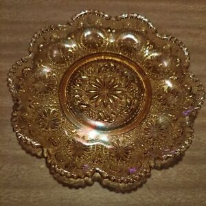 VINTAGE AMBER DEPRESSION SMALL PLATE BEAUTIFUL ETCHED BACK- STUNNING