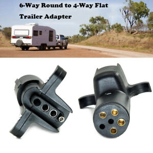 Trailer Adapter For 6 Way Round Pin to 4 Way Flat Wiring Plug Tow Truck Light US