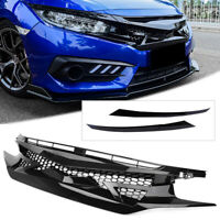 Mesh-Fronthaube Kühlergrill Grill Fit Honda Civic 10. Gen FK8 Type-R Style 16-19