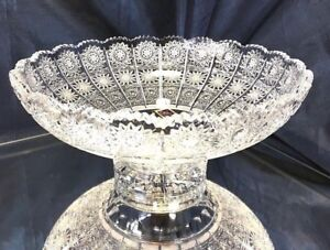 """Crystal Glass Bowl 10 """" for Sweets Fruits Candy Hand Cut Design Bohemian Crystal"""