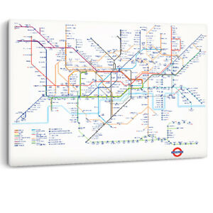 London Underground Tube Map Transport Premium Canvas Wall Art Picture Print A0