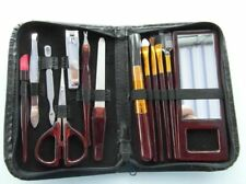 LADIES MANICURE SET WITH MAKE-UP BRUSH Leather Case Ladies Pocket Hot 13 Pieces