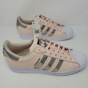 New Adidas Superstar Originals Metallic 3 Stripes Pink Tint Womens 12 Mens 10.5