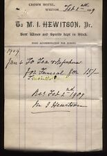 1909 THE CROWN HOTEL, WIGTON CUMBERLAND,  PROP. M. I. HEWITSON, WINES & SPIRITS