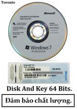 Windows 7 Pro DVD 64 Bits, Original Disk and COA Key Sticker.