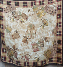 QUADRATO GRANDE Marrone Vintage Sciarpa Tartan inquilino PESCA CON MULINELLO PALLONE Waistcoats