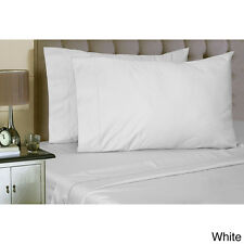 White Full Size 300TC Poly Cotton Bed Sheet Set Flat and Fitted Sheets 4pc