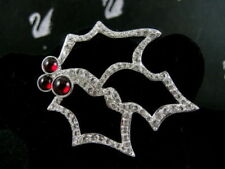Signed Swarovski Holly Berry Pin ~ Brooch Retired New With Tags In Box