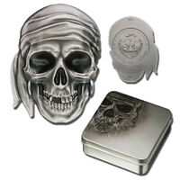2017 Palau Pirate Skull High Relief 1 oz Silver Antiqued finish $5 (box/coa)