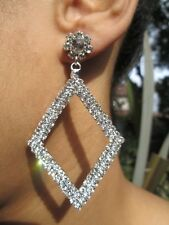 Large Diamante Earrings Diamond Shape Drop Crystal Silver Special Occasion