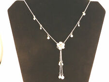 Ladies White Lotus Flower with Tassels Necklace