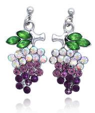 Grapes Fruit Purple Lavender Crystal Post Dangle Charm Earrings Women Jewelry