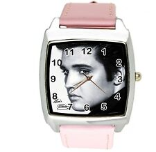 ELVIS PRESLEY WATCH Steel LEATHER MUSIC KING LEGEND SQUARE CD PINK BAND WATCH E8