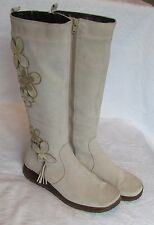 Clarks Ladies Cream Beige Suede Leather Wedge Knee High Boots Size 5