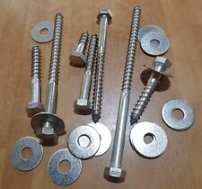 M8 COACH SCREWS HEX HEAD LAG BOLTS WOOD SCREW A2 STAINLESS STEEL WITH WASHERS