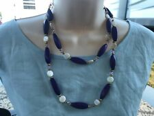 Bright Purple Dyed Large Twisted Oval Wood Handmade Necklace with MOP and Glass