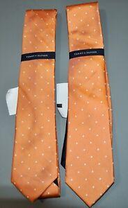 Pair of Tommy Hilfiger Men's Neck Wear Orange Polka Dot Neck Tie 100% Silk NWT