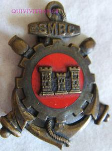 IN13403 - INSIGNE Service Matériel Bâtiments Coloniaux, dos lisse embouti,