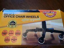 Lifelong Wheels Set 5 Office Chair Wheels Office Upgrade Black Rubber Caster New