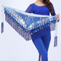 HOT Belly Dance Costume Tribal Triangle Sequins Tassel Hip Scarf Belt 8 Colors