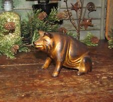 Original Antique Vtg Williams 1910 Cast Iron Sitting Seated Pig Still Penny Bank