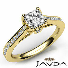 Asscher Diamond Channel Set Engagement Ring GIA E VVS2 18k Yellow Gold 1.01Ct