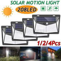 1/2/4Pcs Lampada Solare 208 LED Esterno Luce Faretto Sensore di Movimento IP65