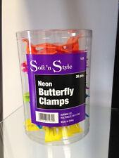"Sof'tn Style 36pcs 3.25"" Neon Butterlfy Clips Clamps Multi-Colors Plastic #183"